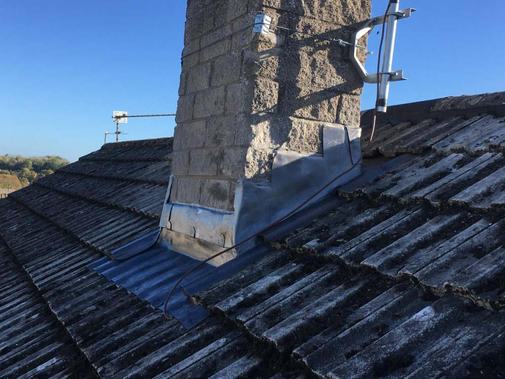 New lead around a chimney stack in Midsomer Norton