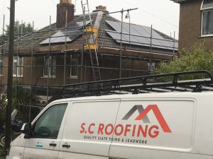 Re roofed with reclaimed clay double roman tiles before fitting solar panels in Midsomer Norton